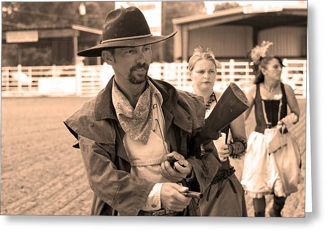 Rodeo Gunslinger With Saloon Girls Sepia Greeting Card