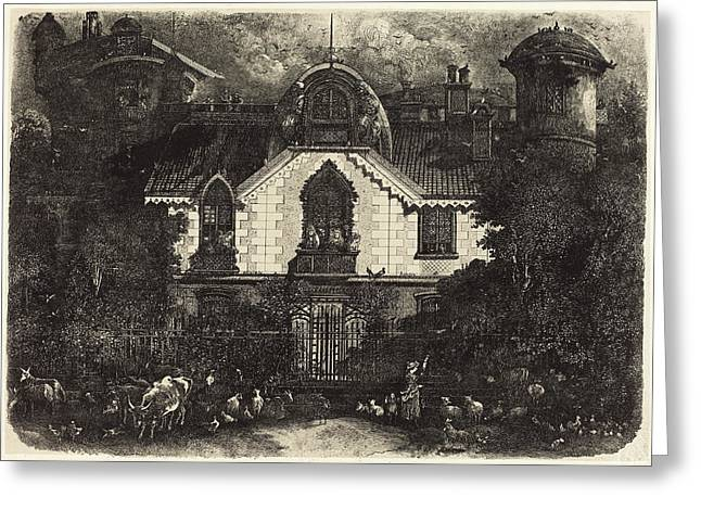 Rodolphe Bresdin French, 1822 - 1885, The Haunted House Greeting Card
