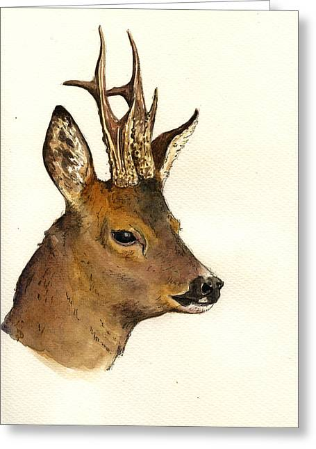 Roe Deer Head Study Greeting Card by Juan  Bosco