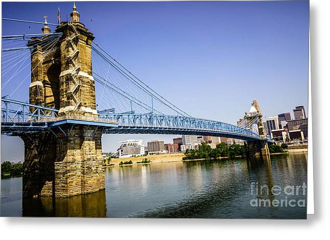 Roebling Bridge In Cincinnati Ohio Greeting Card