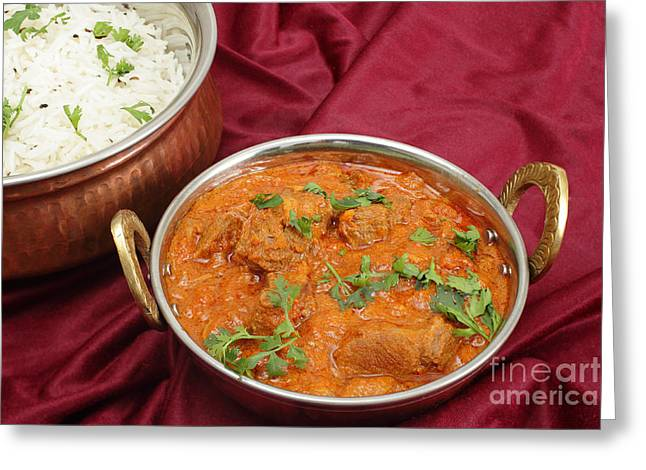 Rogan Josh In Kadai Bowl Greeting Card by Paul Cowan