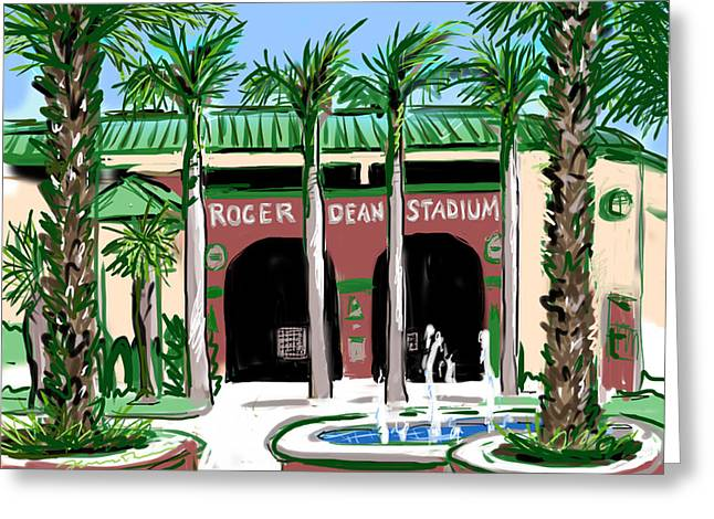 Roger Dean Stadium Greeting Card by Jean Pacheco Ravinski