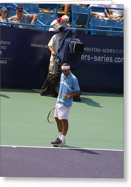 Roger Federer After 1st Slam Greeting Card by Rexford L Powell