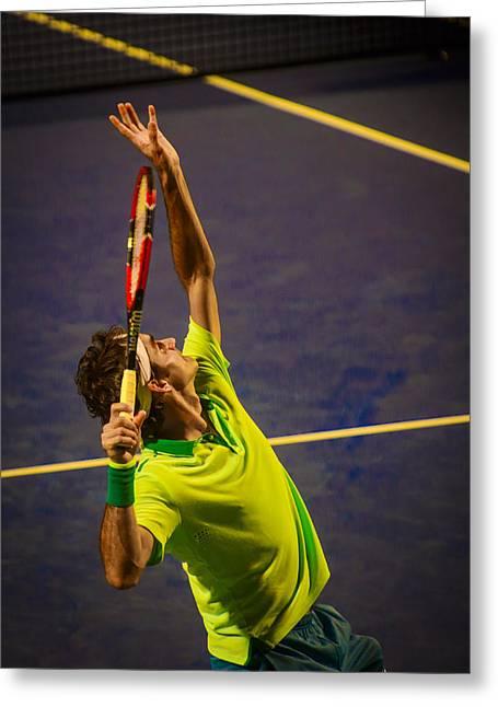 Roger Federer Greeting Card by Bill Cubitt
