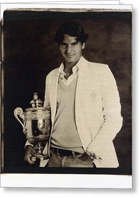 Roger Federer Greeting Card by Zenon Texeira