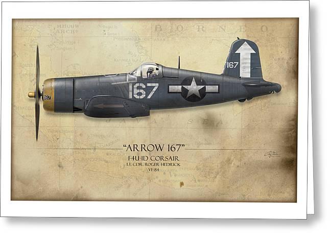 Roger Hedrick F4u Corsair - Map Background Greeting Card by Craig Tinder