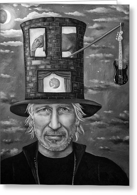 Roger Waters Bw Greeting Card by Leah Saulnier The Painting Maniac