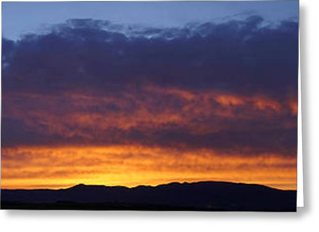 Rogue Valley Sunset Panoramic Greeting Card by Mick Anderson