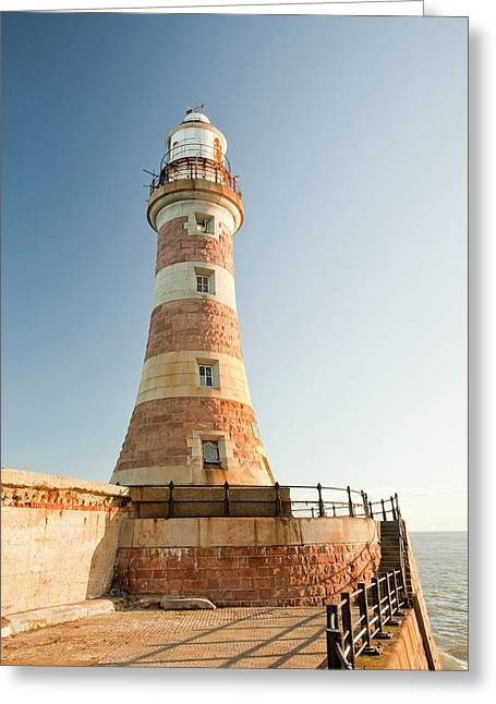 Roker Pier Lighthouse Greeting Card by Ashley Cooper