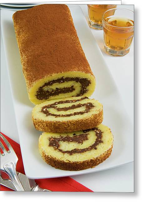 Roll Of Sponge Cake With Chocolate Greeting Card by Nico Tondini