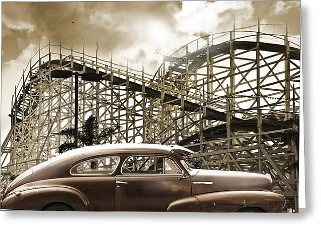 Roller Coaster Greeting Card by Larry Butterworth