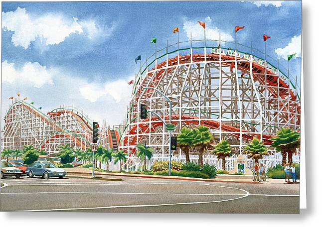 Roller Coaster Mission Beach Greeting Card by Mary Helmreich