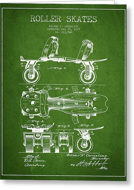 Roller Skate Patent Drawing From 1879 - Green Greeting Card by Aged Pixel