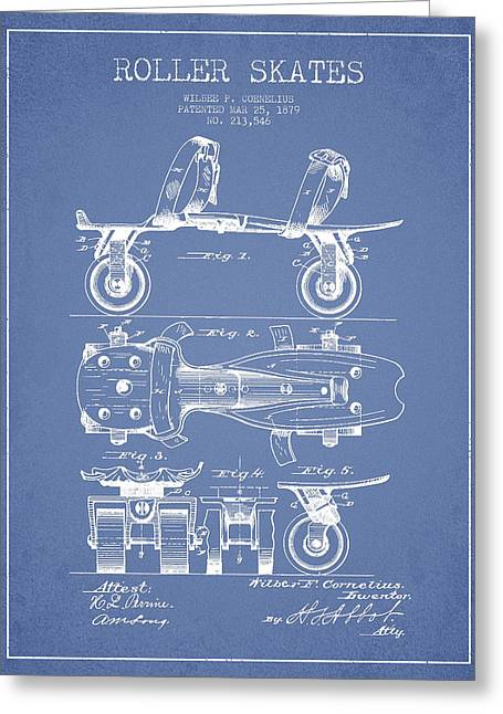 Roller Skate Patent Drawing From 1879 - Light Blue Greeting Card by Aged Pixel