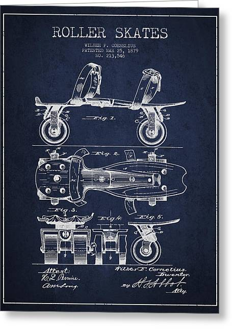 Roller Skate Patent Drawing From 1879 - Navy Blue Greeting Card by Aged Pixel