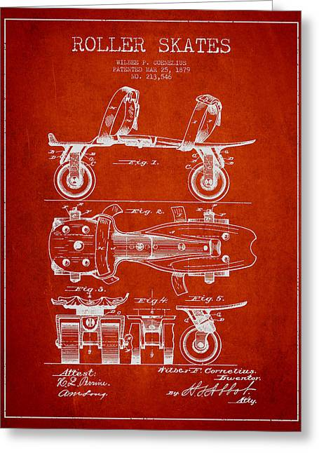 Roller Skate Patent Drawing From 1879 - Red Greeting Card by Aged Pixel