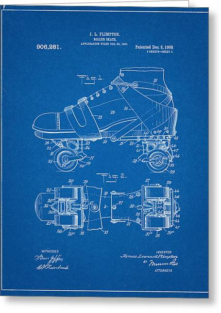 Roller Skate Patent One In Blue Greeting Card