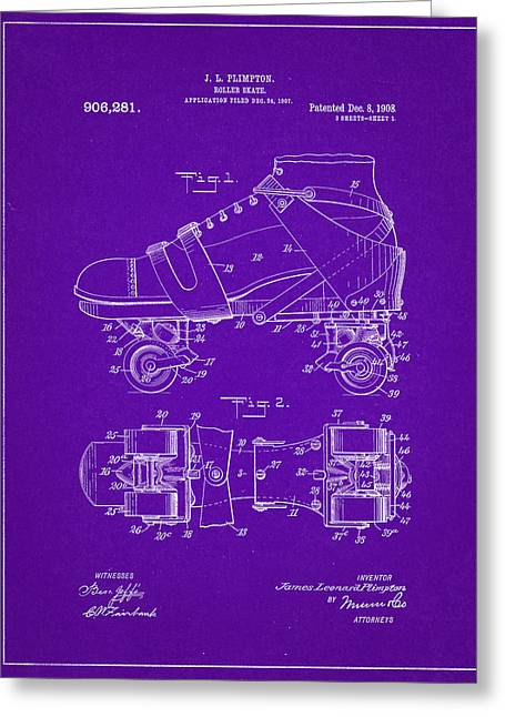 Roller Skate Patent One In Purple Greeting Card