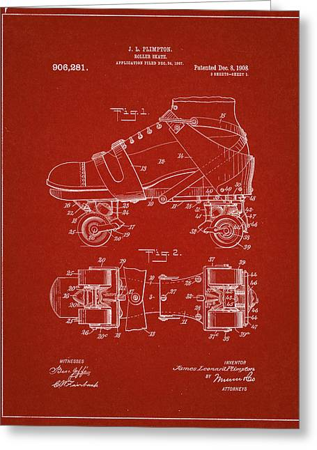 Roller Skate Patent One In Red Greeting Card