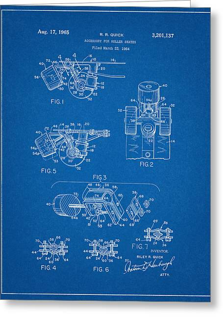 Roller Skate Patent Two In Blue Greeting Card