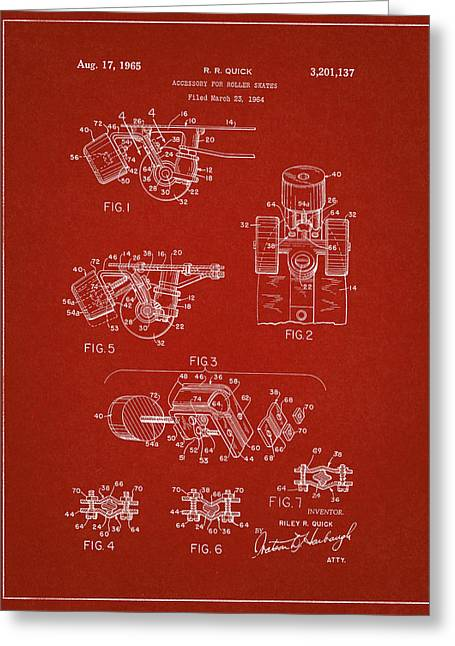 Roller Skate Patent Two In Red Greeting Card