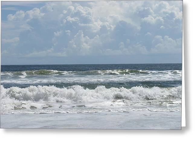 Rolling Clouds And Waves Greeting Card