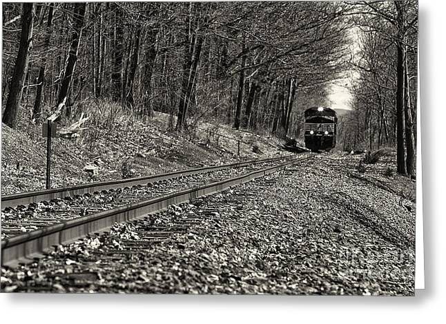 Rolling Down The Tracks Greeting Card