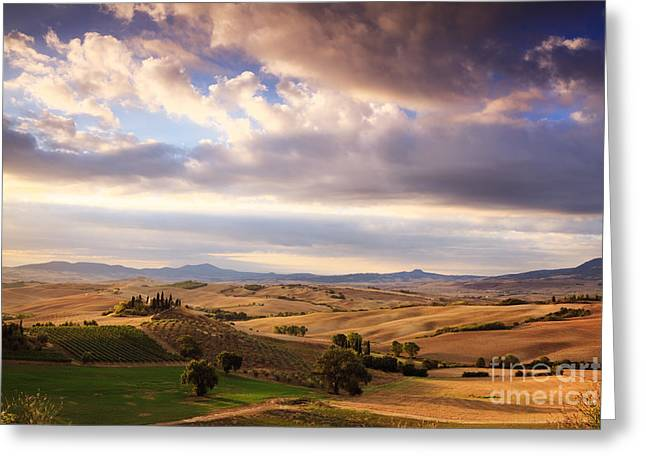 Rolling Hills Of Tuscany Greeting Card by Matteo Colombo