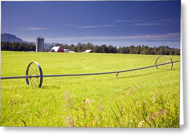 Rolling Irrigation Sprinkler On Hay Greeting Card by Jeff Schultz