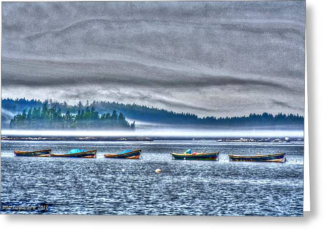 Rolling Mist Over Boats Greeting Card