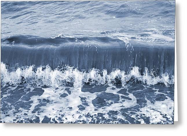 Rolling Sea Wave - Blue Greeting Card by Natalie Kinnear