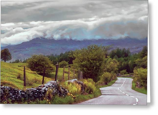 Rolling Storm Clouds Down Cumbrian Hills Greeting Card