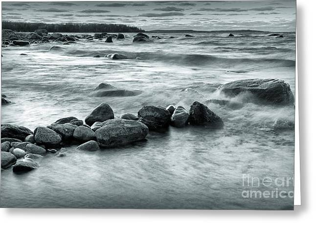 Rolling Waves Greeting Card by Charline Xia