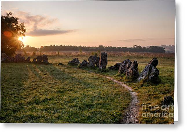Sun Rising Over Rollright Stones  Greeting Card