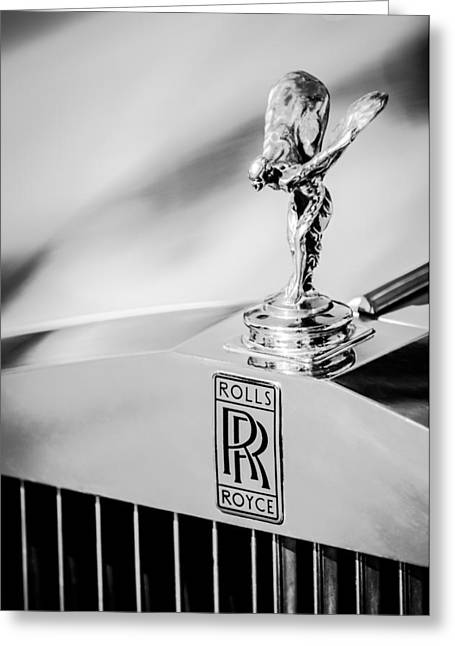Greeting Card featuring the photograph Rolls-royce Hood Ornament -782bw by Jill Reger
