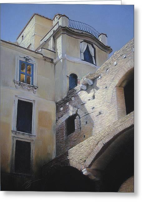 Roman Apartments - Pastel Greeting Card by Ben Kotyuk