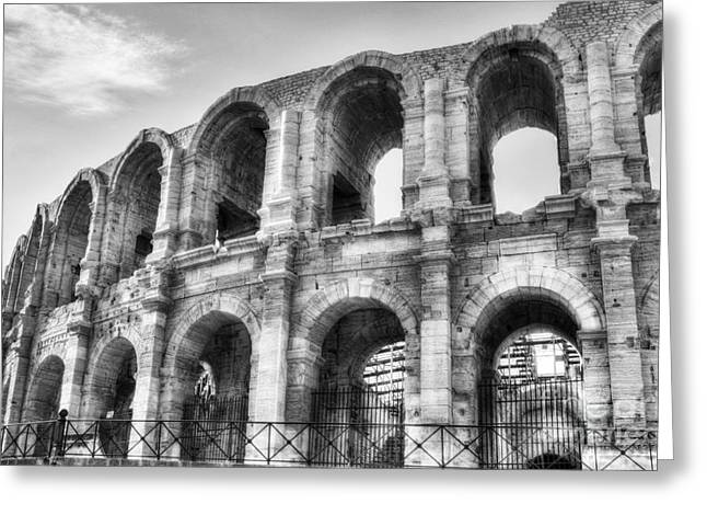 Roman Arena At Arles 2 Bw Greeting Card