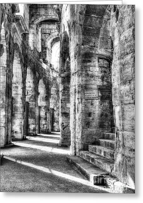 Roman Arena At Arles Bw Greeting Card by Mel Steinhauer