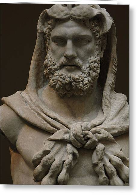 Roman Art. Marble Statue Of A Bearded Hercules Covered With Lions Skin. Early Imperial, Flavian Greeting Card by Bridgeman Images