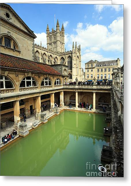 Roman Bath And Bath Abbey Greeting Card by Paul Cowan