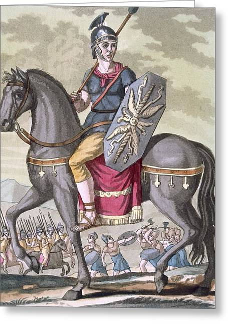 Roman Cavalryman Of The State Army Greeting Card by Jacques Grasset de Saint-Sauveur
