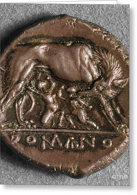 Roman Coin: Romulus Greeting Card by Granger