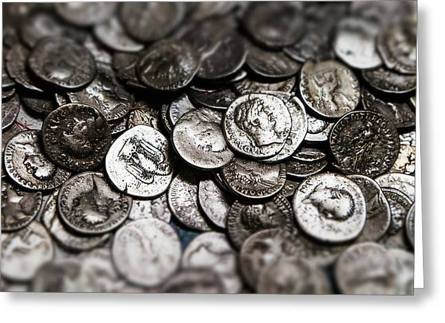 Roman Coins In A Pile  South Shields Greeting Card by John Short