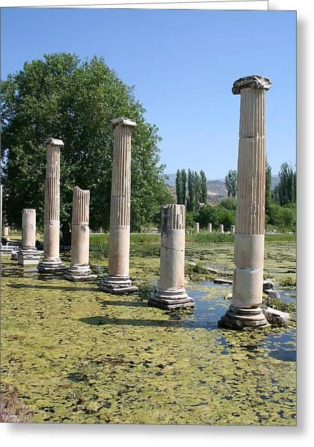 Roman Columns Aphrodisias Greeting Card by Tracey Harrington-Simpson
