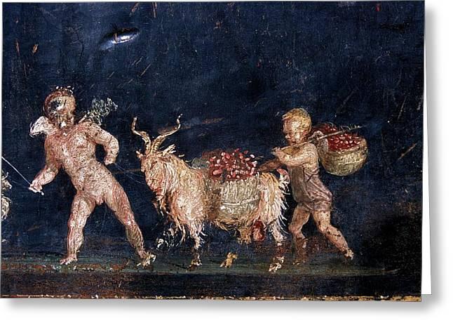 Roman Fresco Showing Flower Dealers Greeting Card by Patrick Landmann/science Photo Library