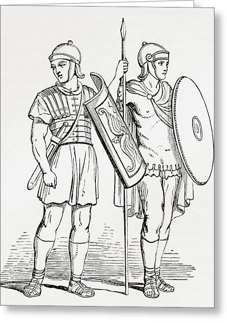 Roman Infantry Soldiers, After Figures On Trajans Column.  From The Imperial Bible Dictionary Greeting Card by Bridgeman Images