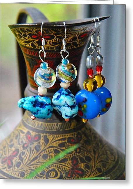 Roman Inspired Earrings  Greeting Card