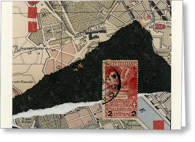Roman Map Collage Greeting Card by Carol Leigh