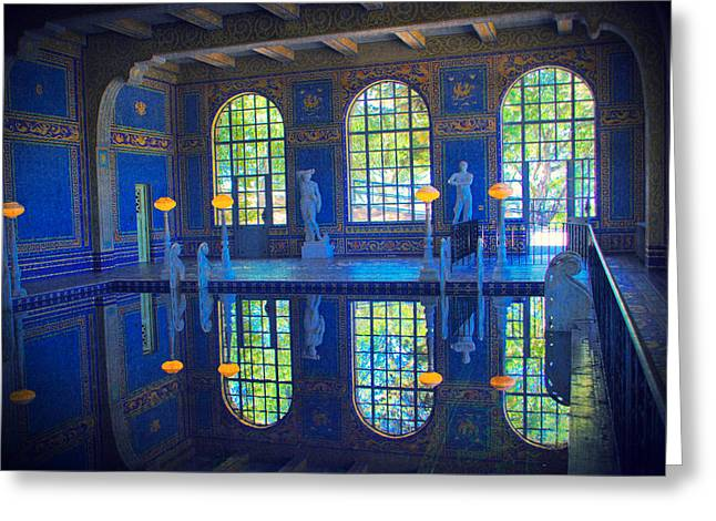 Roman Pool Reflection Hearst Castle Greeting Card by Heidi Smith