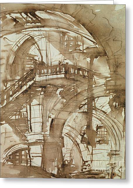 Roman Prison Greeting Card by Giovanni Battista Piranesi